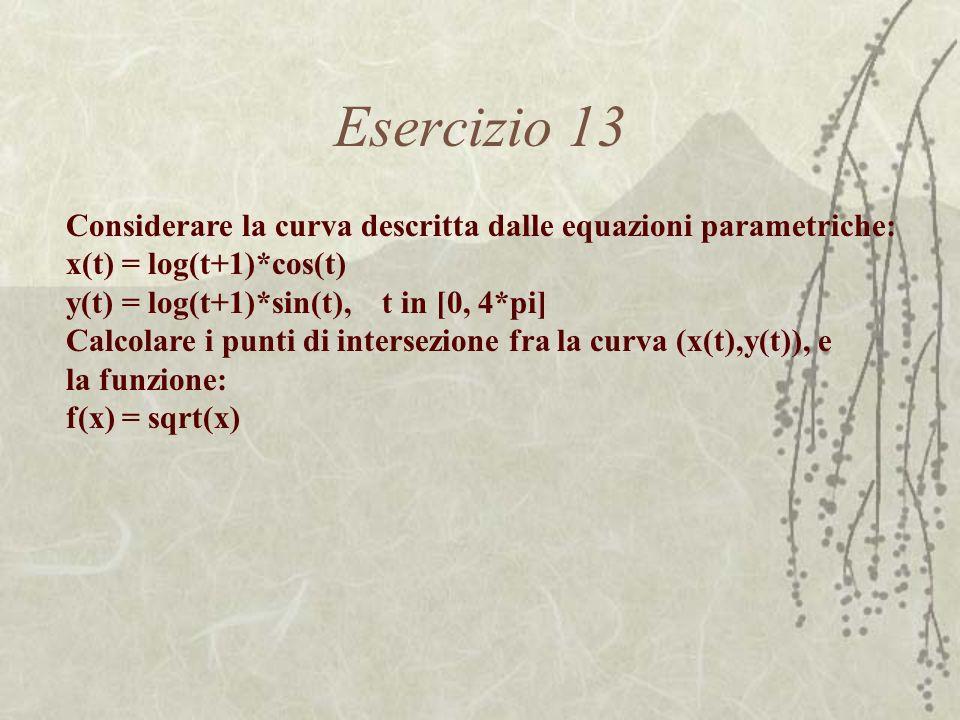 Esercizio 13 Considerare la curva descritta dalle equazioni parametriche: x(t) = log(t+1)*cos(t) y(t) = log(t+1)*sin(t), t in [0, 4*pi]